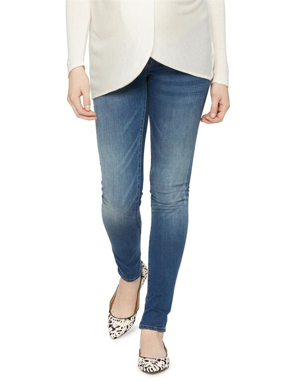 Luxe Essentials Denim Secret Fit Belly Skinny Maternity Jeans, Medium Wash