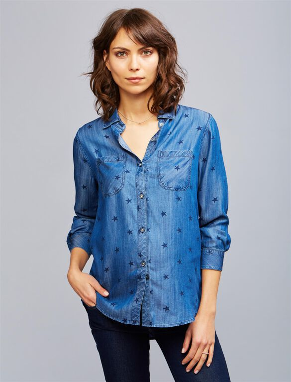 Rails Star Maternity Shirt, Navy