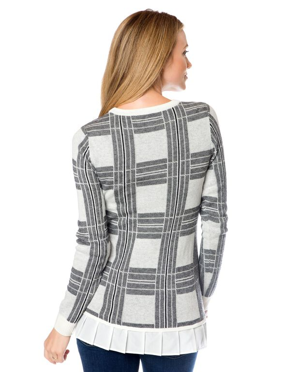 Maternity Sweater, Cream/Black Plaid