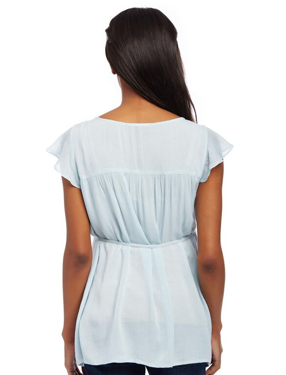 Embroidered Flutter Sleeve Maternity Blouse, Sterling Blue