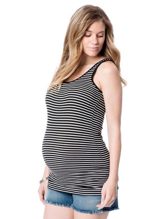 Maternity Tank Top, Black/White Stripe