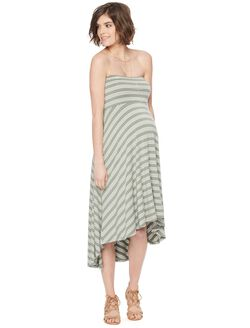 Strapless High-low Hem Maternity Dress- Stripe, Olive/White