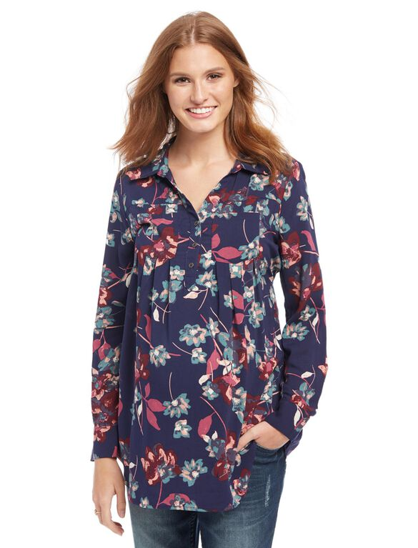 Front Pocket Maternity Shirt, Floral Print