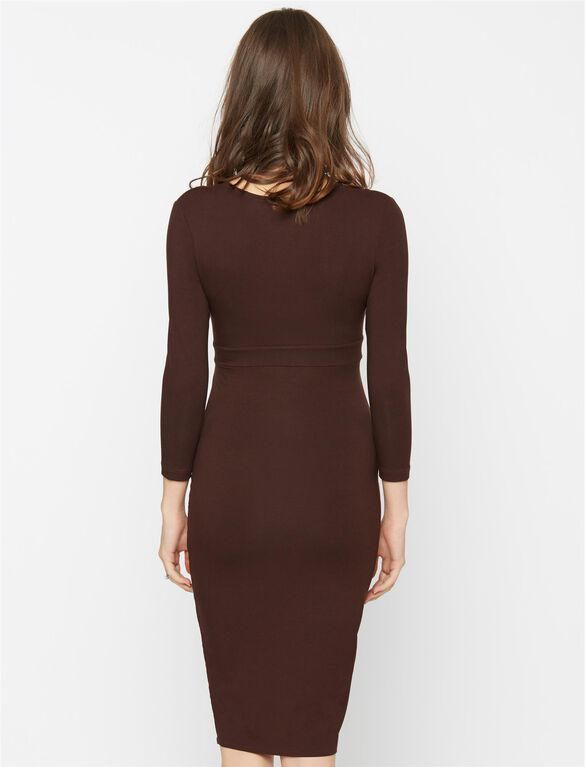 Isabella Oliver Cotton Jersey Maternity Dress, Chocolate