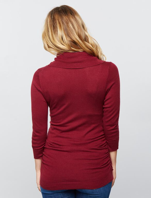 Cowl Maternity Sweater- Solids, Fall Burgundy