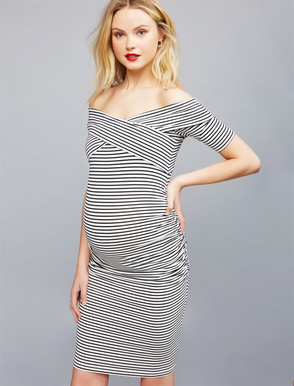 Off The Shoulder Bodycon Maternity Dress, Black/White Stripe