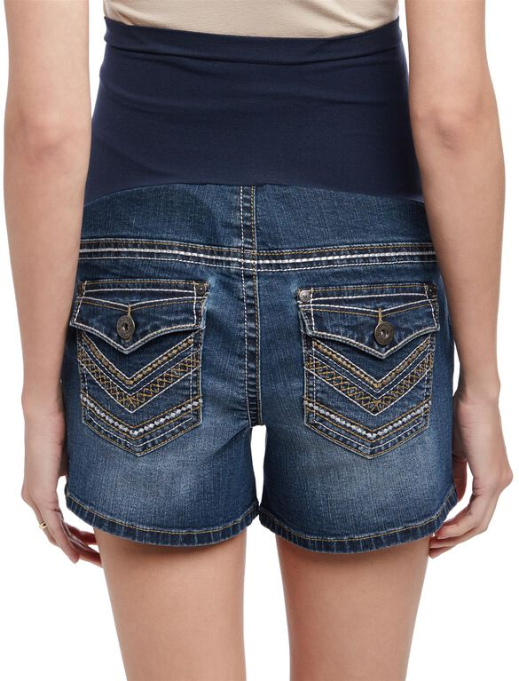 Secret Fit Belly Stitch Detail Maternity Shorts, Dark Wash