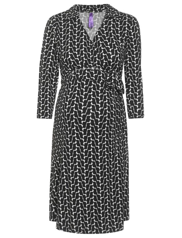 Seraphine Side Tie Maternity Dress, Black/White Print
