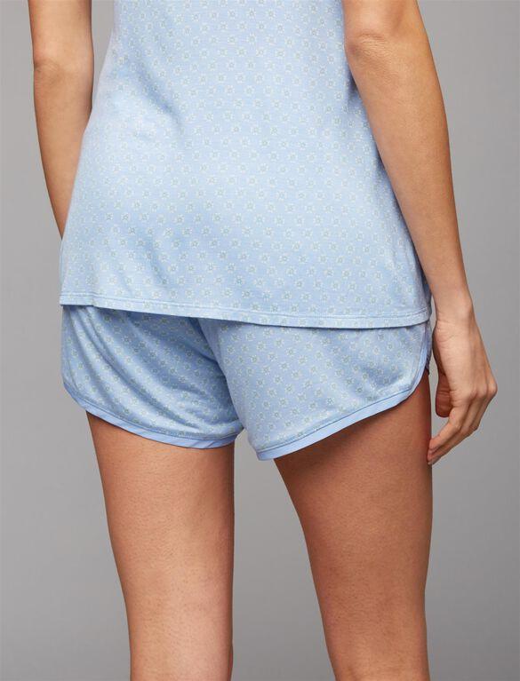 Ruched Maternity Sleep Shorts, Peri Print