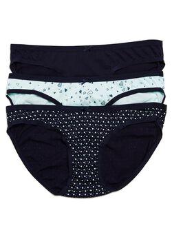 Printed Fabric Maternity Hipster Panties (3 Pack), Heart/Navy/Dot