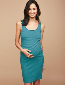 Rib Knit Maternity Dress, Turq/Navy Stripe