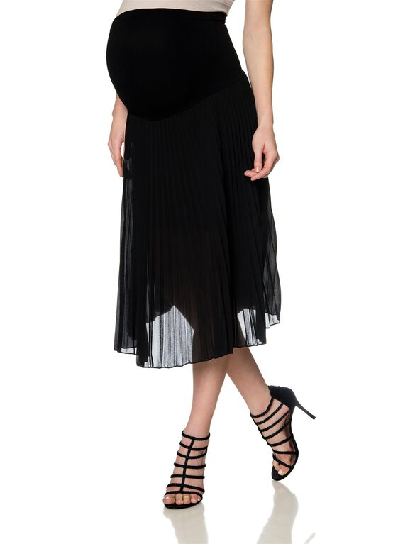 Secret Fit Belly Pleated Maternity Skirt, Black