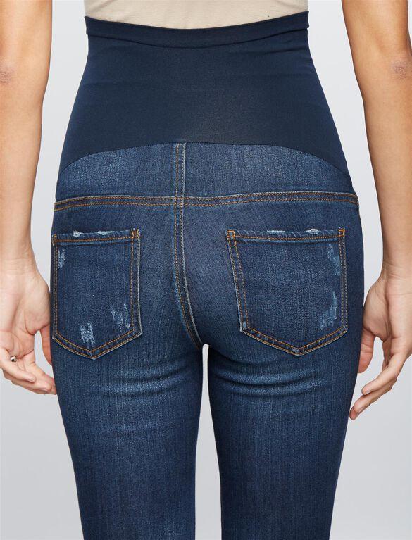 Luxe Essentials Denim Secret Fit Belly Hannah Maternity Ankle Jeggings, Dark Wash