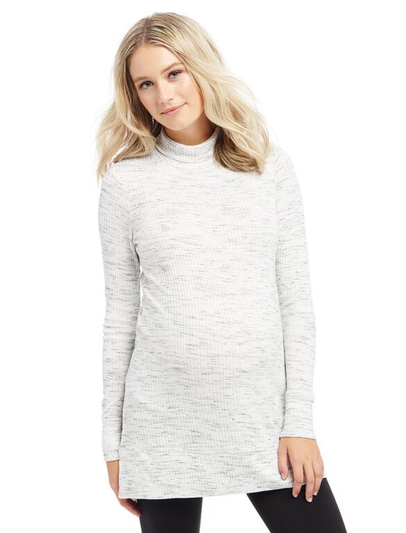 Ribbed Turtleneck Maternity Tunic, Grey Spacedye