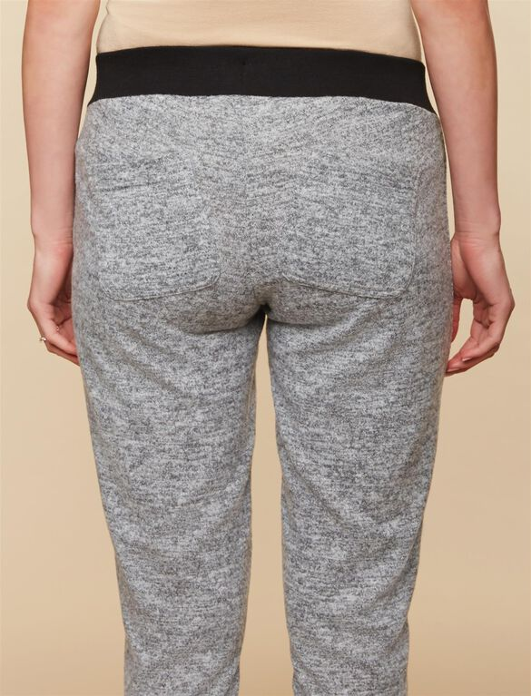 Under Belly Hacci Knit Maternity Active Pants, GREY