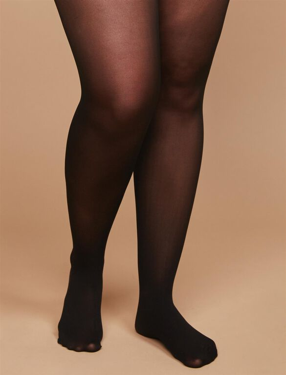 Plus Size Sheer Light Compression Maternity Pantyhose, Black