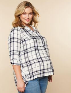 Plus Size Plaid High-low Hem Maternity Tunic, White/Navy Plaid
