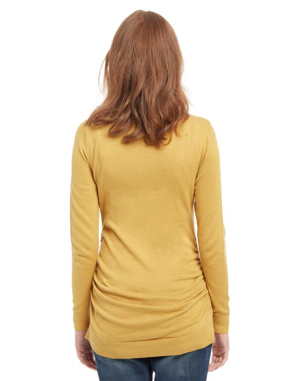 Side Ruched Maternity Sweater, Mustard