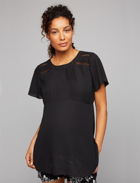 Crochet Detail Maternity Blouse, Black