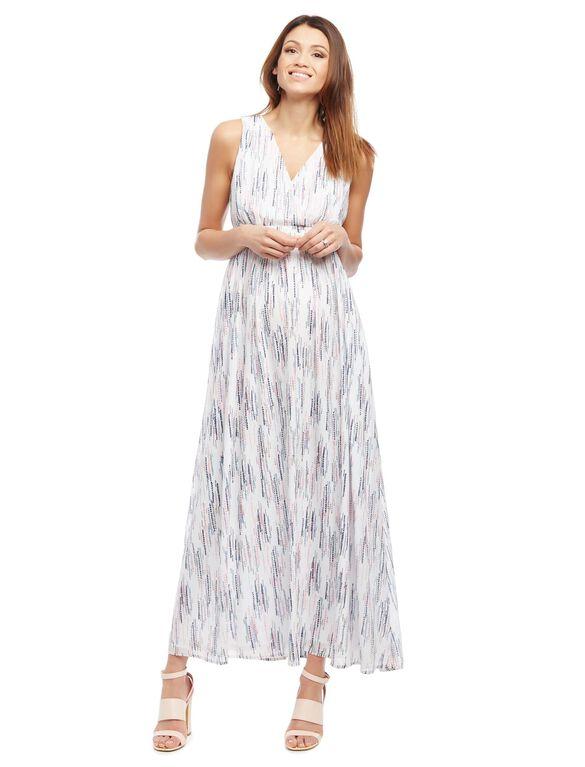 Multi Dot Maternity Maxi Dress, Cream Dot