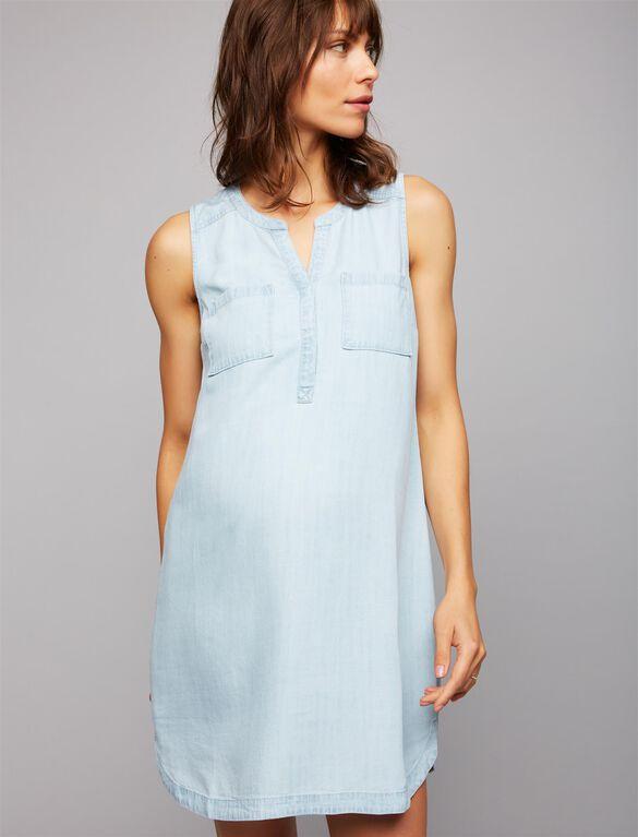 Chambray Maternity Dress, Lt Blue Wash
