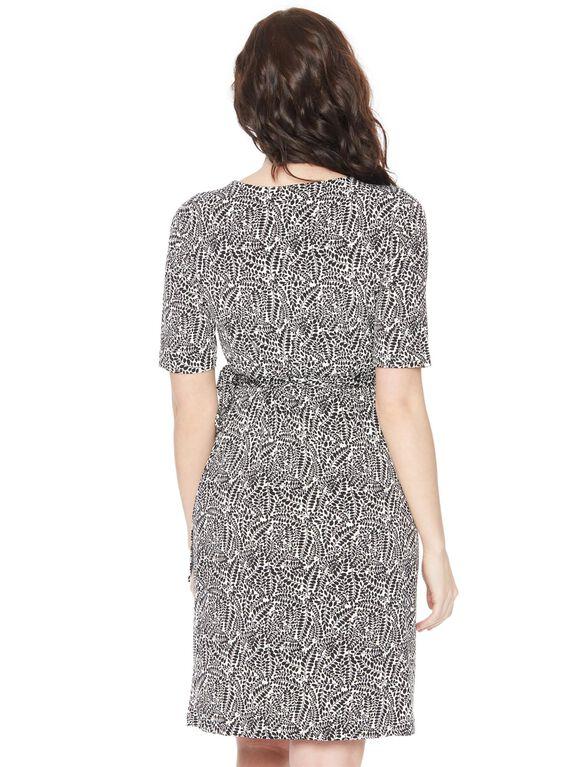 Waist Tie Surplice Maternity Dress- Black/White, Black And White