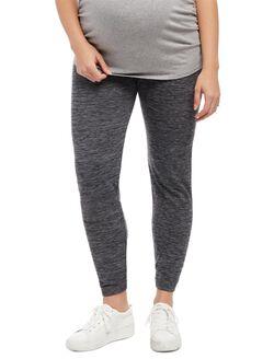 Plus Size Under Belly Fleece Maternity Leggings, Grey Space Dye