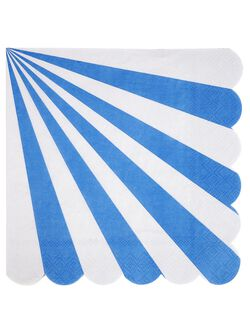 Meri Meri Striped Large Napkins, Blue Stripe