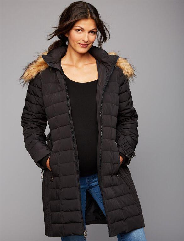 Faux Fur Trim Cotton Woven Maternity Jacket, Black