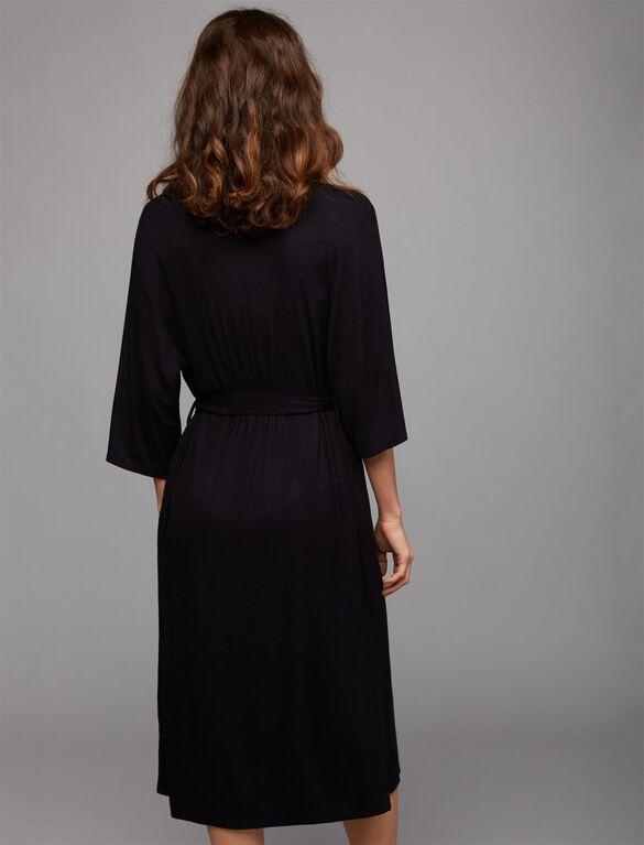Rib Knit Maternity Robe, Black