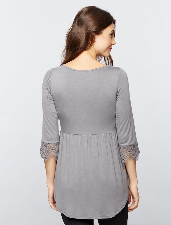 Babydoll Maternity Top, Misty Shore Grey