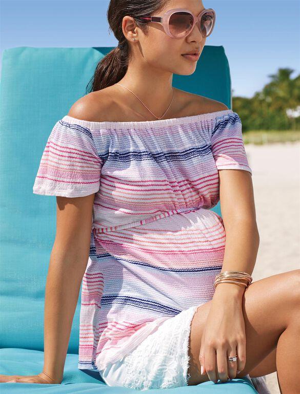 Secret Fit Belly Crochet Detail Denim Maternity Shorts, White