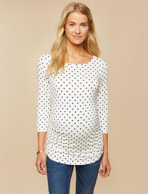 Sleeve Side Ruched Maternity Tee- White/Black Dot, Black White Dot