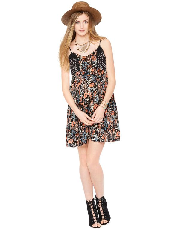 Empire Seam Maternity Dress- Floral, Multi Floral