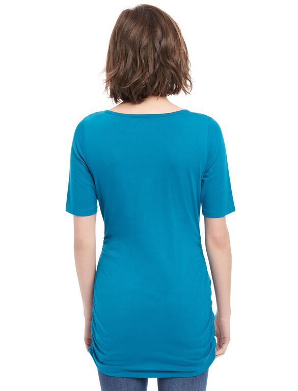 Elbow Sleeve Side Ruched Maternity Tee, Ocean Depths