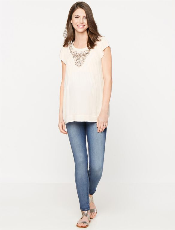 Embellished Maternity Blouse, Pale Mauve