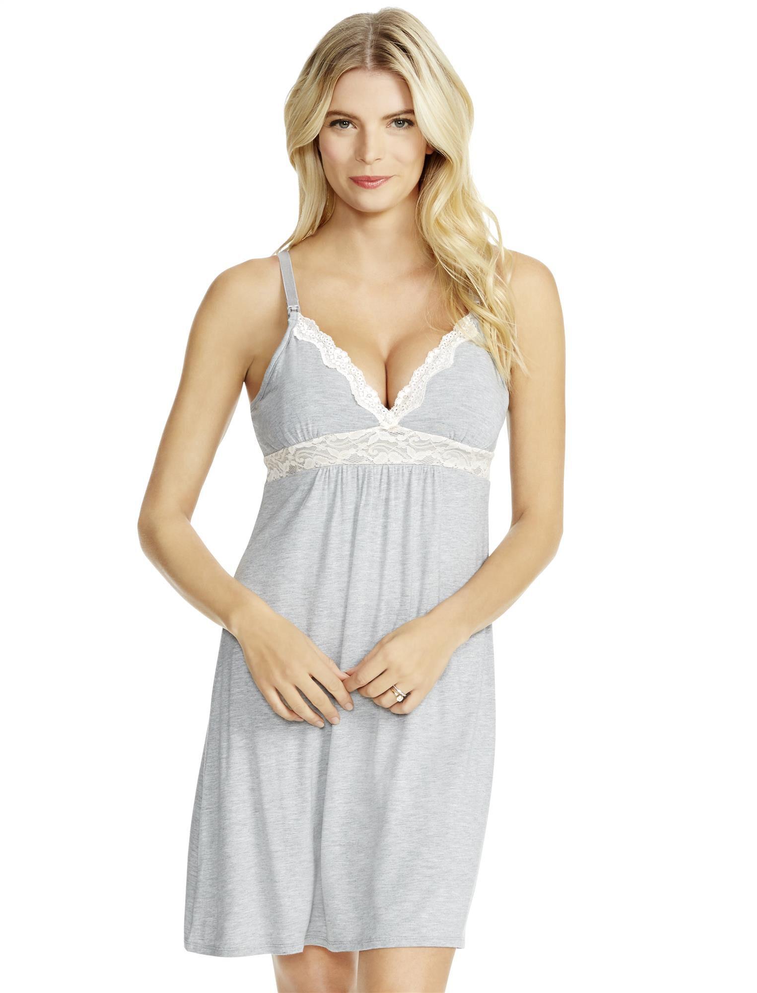 Jessica Simpson Lace Nursing Nightgown- Heather Grey