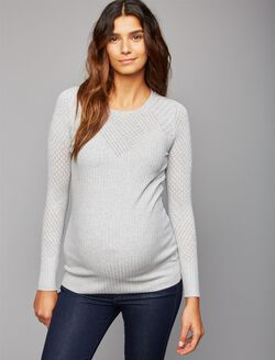 Patterned Stitch Maternity Sweater, Heather Grey