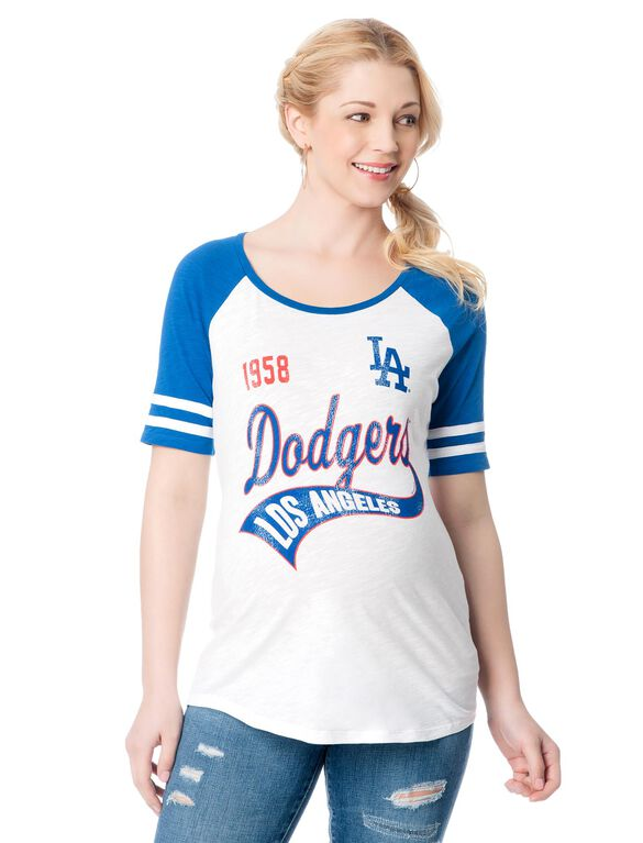 Los Angeles Dodgers MLB Raglan Elbow Sleeve Maternity Graphic Tee, Dodgers