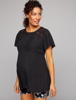 Crochet Detail Maternity Blouse, Black