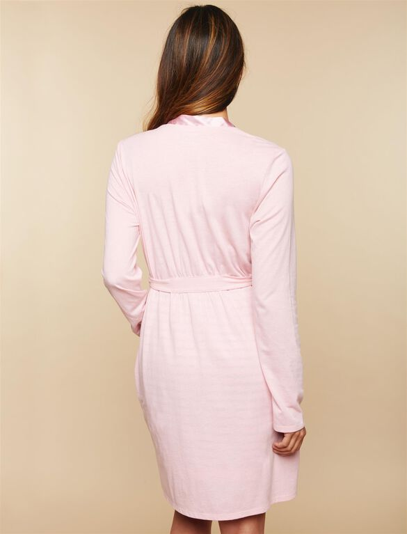 Satin Trim Maternity Nightgown And Robe Set, Pink Grey Stripe
