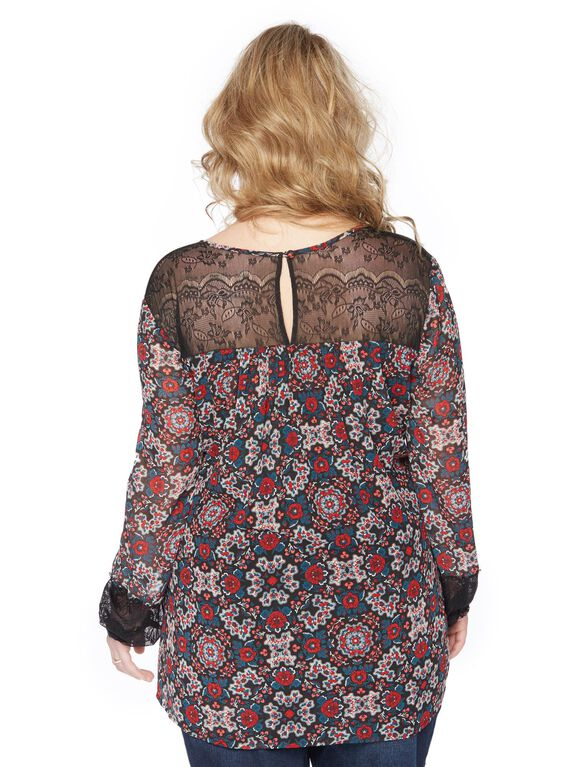 Wendy Bellissimo Plus Size Lace Trim Maternity Blouse, Floral Print