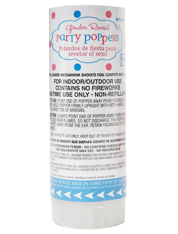Gender Reveal Confetti Party Poppers, Pink