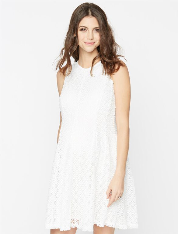 Taylor Eyelet Lace Maternity Dress, White