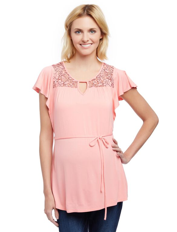 Lace Detail Flutter Sleeve Maternity Shirt, Salmon Rose