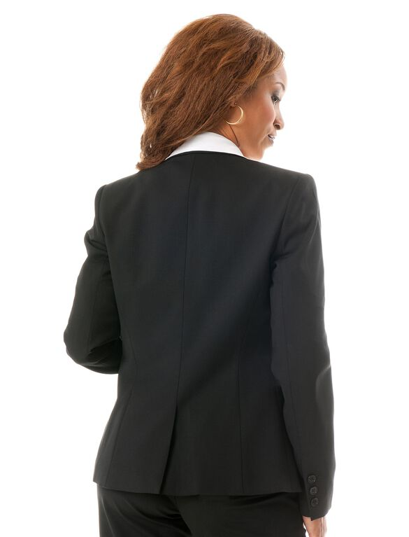 Button Front Bi-stretch Suiting Maternity Jacket, Black