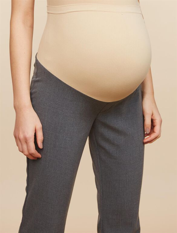 Petite Secret Fit Belly Bi-stretch Suiting Flare Leg Maternity Pants, Grey