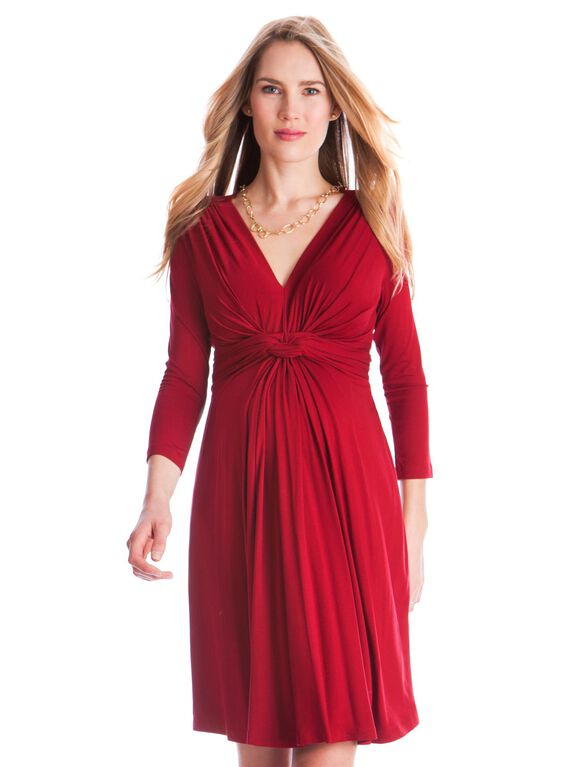 Seraphine Jolene Long Sleeve Maternity Dress- Red, Claret