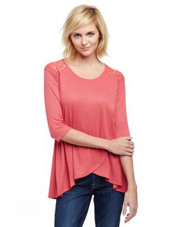 Jessica Simpson Lace Pull Over Nursing Top- Purple, Pink
