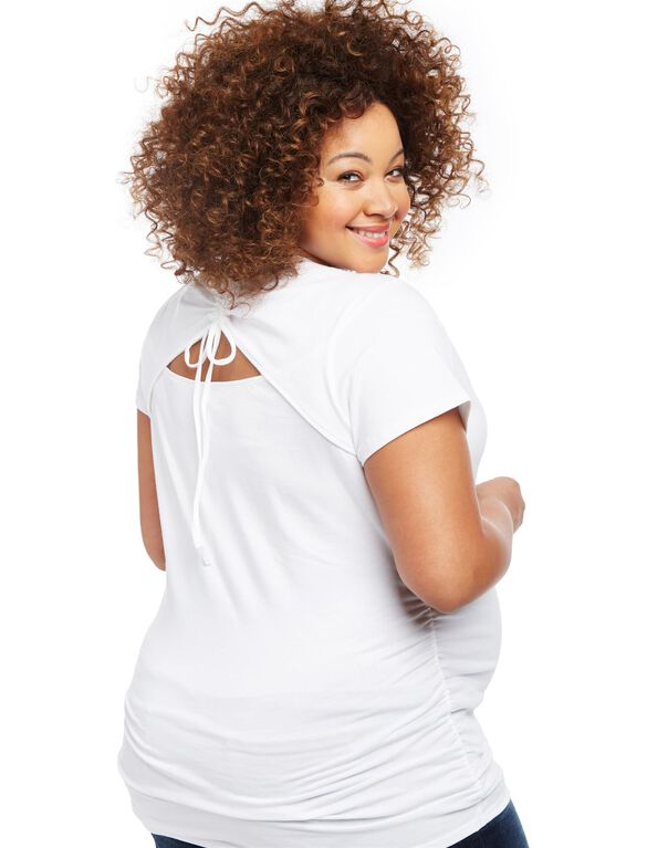 Plus Size Butterfly Back Cutout Maternity Tee, White Butterfly